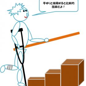 松葉杖の階段昇降の図